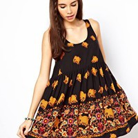 ASOS Smock Dress With Elephant Print at asos.com