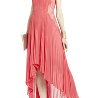MINA PLEATED DRESS WITH LACE CONTRAST