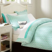 Petal Dot Duvet Cover + Sham, Pool