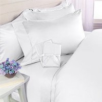 1500 Thread Count Egyptian Cotton 4 Piece Bed Sheet Set, Queen, White Solid | Egyptian Cotton Factory Outlet Store