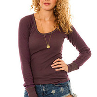 Colorfast Apparel The Duo Dye Burnout LS Thermal in TanBurgundy