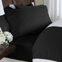 1500 Thread Count Egyptian Cotton 1500TC Sheet Set, Queen, Black Solid 1500 TC | Egyptian Cotton Factory Outlet Store