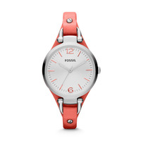 ES3219 - Georgia Three Hand Leather Watch – Coral