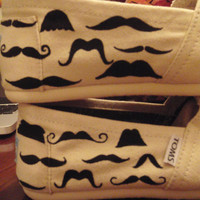 Hand Painted Mustache TOMS shoes by CatalindaOFFICIAL on Etsy