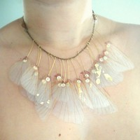 Wings of Iris Organza Necklace by jewelera on Etsy