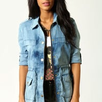 Isabelle Military Style Denim Jacket with Gold Buttons