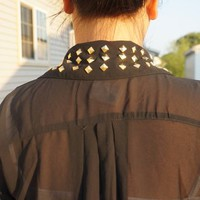 Vintage Studded Collar Blouse