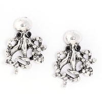 Antiqued Octopus Stud Earrings