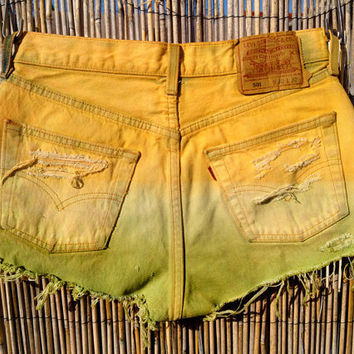 Vintage Levis Denim High Waist Cut off Shorts by UnraveledClothing