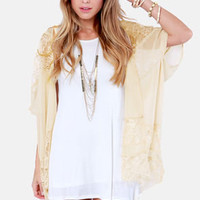 Boudoir Favorite Cream Lace Kimono Top