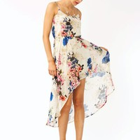 floral-high-low-dress BEIGE - GoJane.com
