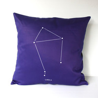 LIBRA zodiac cushion, astrology decorative pillow eco friendly organic cotton cushion cover, pillow, 16&quot;, 41cms