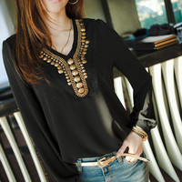 New Fashion Copper Sheet Long Sleeve Chiffon Shirt Blouse Tops Women's Girl