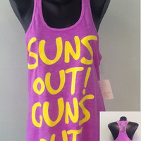 Racer tank w/ laced back- Suns out Guns out