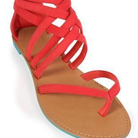 multi strap thong sandal with zipper back - 1000043944 - debshops.com