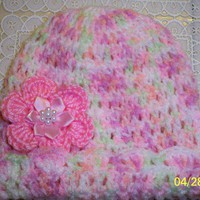 Varigated pink handmade crochet baby beanie hat with flower