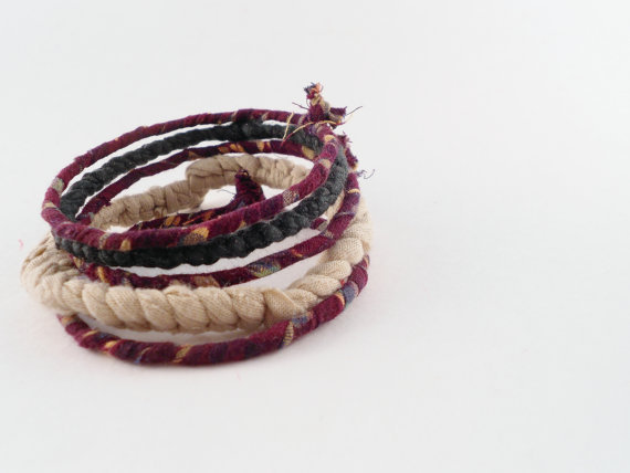 Fabric Bangle Stack Burgundy Green and Tan by ellisandraen
