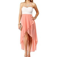 Pre-Order WhitePeach Strapless Hi Low Dress