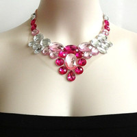 pink bib necklace - rhinestone bib necklace party prom wedding birdesmaids or gif NEW