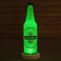 12oz Heineken Beer Bottle Accent Lamp Night Light Bar Man Cave Sign Glow Sparkle Holland