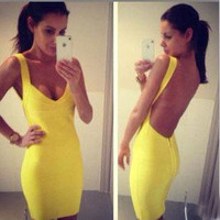 Beautiful clothes — Yellow backless sexy dress