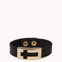 Faux Leather Cross Cuff | FOREVER 21 - 1057408140
