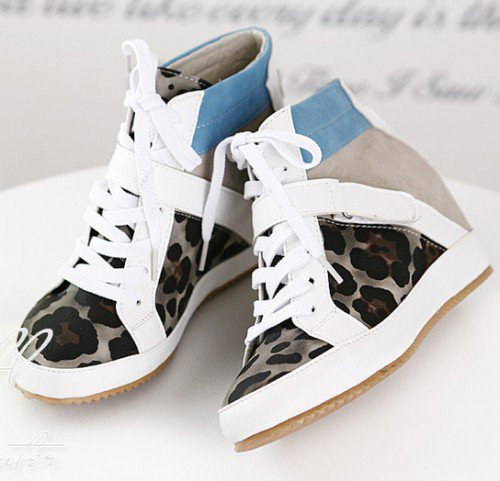 gray leopard lace up high top sneakers by richbong on Sense of Fashion