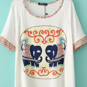 Cute Elephant Pattern Loose T-shirt With Flowers Print