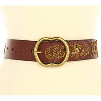 Lucky Brand Nadya Floral Metallic Embroidery Belt