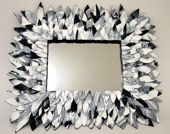 Black and White Leather Feather Mirror like by MullaneInk on Etsy