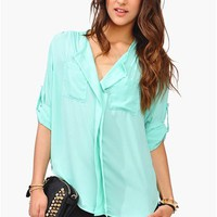Slade Pocket Blouse - Mint