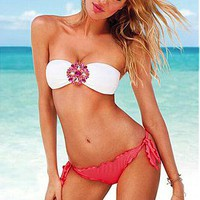 [31.99]  Glam Rhinestones Bandeau Top & Rosy String Bottom Bikini Set - Dressilyme.com