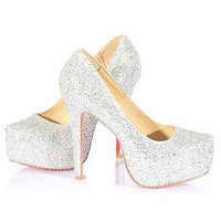[73.99] Sparkling Glitter Sheep Leather Silver Stiletto Heel Pumps Square-toed Bridal Party /  Evening Shoes  - Dressilyme.com
