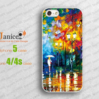 beautiful iphone 5 case,iphone 4 case, iphone cases 4, iphone protector 4, iphone 4 cover ,night rainy road painting,W00138