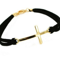 jewelry bangle vintage bracelet, gole cross bracelet, black soft ropes bracelet, women's ropes bracelet  RZ1111