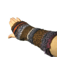 Valentines Day Hand Knit Fingerless Gloves Hand Warmers - Multicolor Brown Grey Red