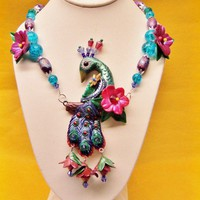 Unique OOAK Peacock and Flower Necklace in Blue Purple Green and Red | CreativeCritters - Jewelry on ArtFire
