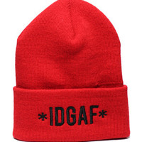 1st Class IDGAFI dont give a fck Beanie Red : Karmaloop.com - Global Concrete Culture