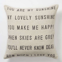 You Are My Sunshine Pillow by Anthropologie Neutral One Size Pillows and Throws