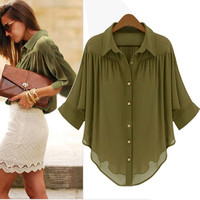 SUMMER CHIFFON ARMY GREEN BLOUSE