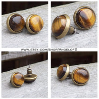 Tiger Eye Gemstone Good Fortune Post Earrings