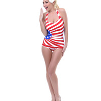 Red, White &amp; Blue Stars &amp; Stripes Ruched Gloria Swimsuit - Unique Vintage - Prom dresses, retro dresses, retro swimsuits.