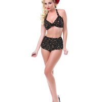 50's Style Black Floral Two Piece Swimsuit - Unique Vintage - Prom dresses, retro dresses, retro swimsuits.