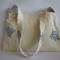 White purse with blue embroidery leaves, unique, one of a kind