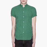 Balmain Green Crumpled Short Sleeve Shirt for men | SSENSE