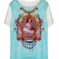 White Chiffon and Modal Panel Design T-shirt with Palace Print