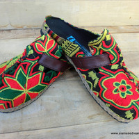 Colorful Laos Embroidered Vegan Slides Clogs Shoes In Greens 7