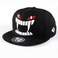 Black Wide Flat Brim Canvas Cap with Stitched Teeth Monster