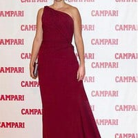 [132.00] Glamorous Chiffon A-line One Shoulder Zipper-up Back Long Celebrity Gown With Train - Dressilyme.com