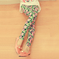 Buzzcare  Vintage Flower Elastic Slim Leggings